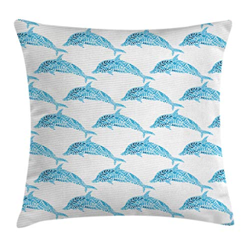 Ambesonne Sea Animals Decor Throw Pillow Cushion Cover, Aqua Dolphin Figures with Leaf Ornamentals Abstract Art Playful Fish, Decorative Square Accent Pillow Case, 16 X 16 Inches, Blue White