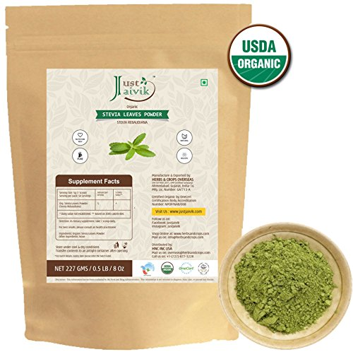 100% Organic Stevia Leaf Powder- an Organic Substitute to Sugar (227g/0.5 LB/08 oz) -