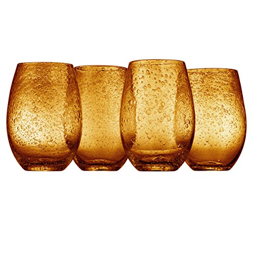 Artland Iris Stemless Glass, Amber, Set of 4 ()