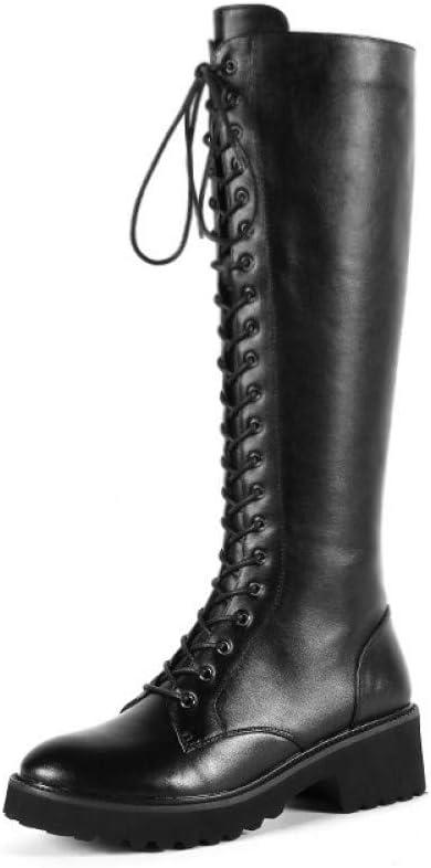 GRHWTAS Botas Altas hasta la Rodilla de Mujer con Cordones + Cremallera Botas de Cuero Genuino Punta Redonda Zapatos de otoño Invierno Mujer