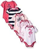 Nautica Baby Girls' 5 Pack Bodysuits, Fuchsia, 3-6
