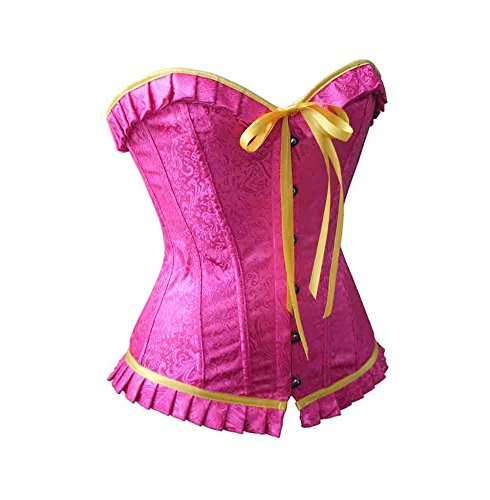 ZAMME Mujeres Tops Bustier Slimming Overbust Corsets Body Shapers Rosa 1