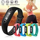 LoiLee 1Pc Digital LCD Silicone Wirstband Pedometer Run Step Walking Distance Calorie Counter Wrist Women&Men Sport Fitness Watch Bracelet