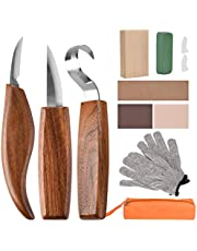 Wood Carving Tools, 11 in 1 Wood Carving Kit with Carving Hook Knife, Wood Whittling Knife, Chip Carving Knife, Gloves, Carving Knife Sharpener for Spoon, Bowl, Kuksa Cup, Beginners Woodworking