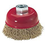 Steelex D2276 Plus 3-Inch Brass Coated Crimped Steel Wire Cup Brush
