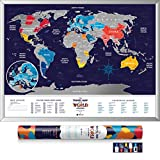 Deluxe Silver Scratch Off Places World Map - Travel Edition - 80 x