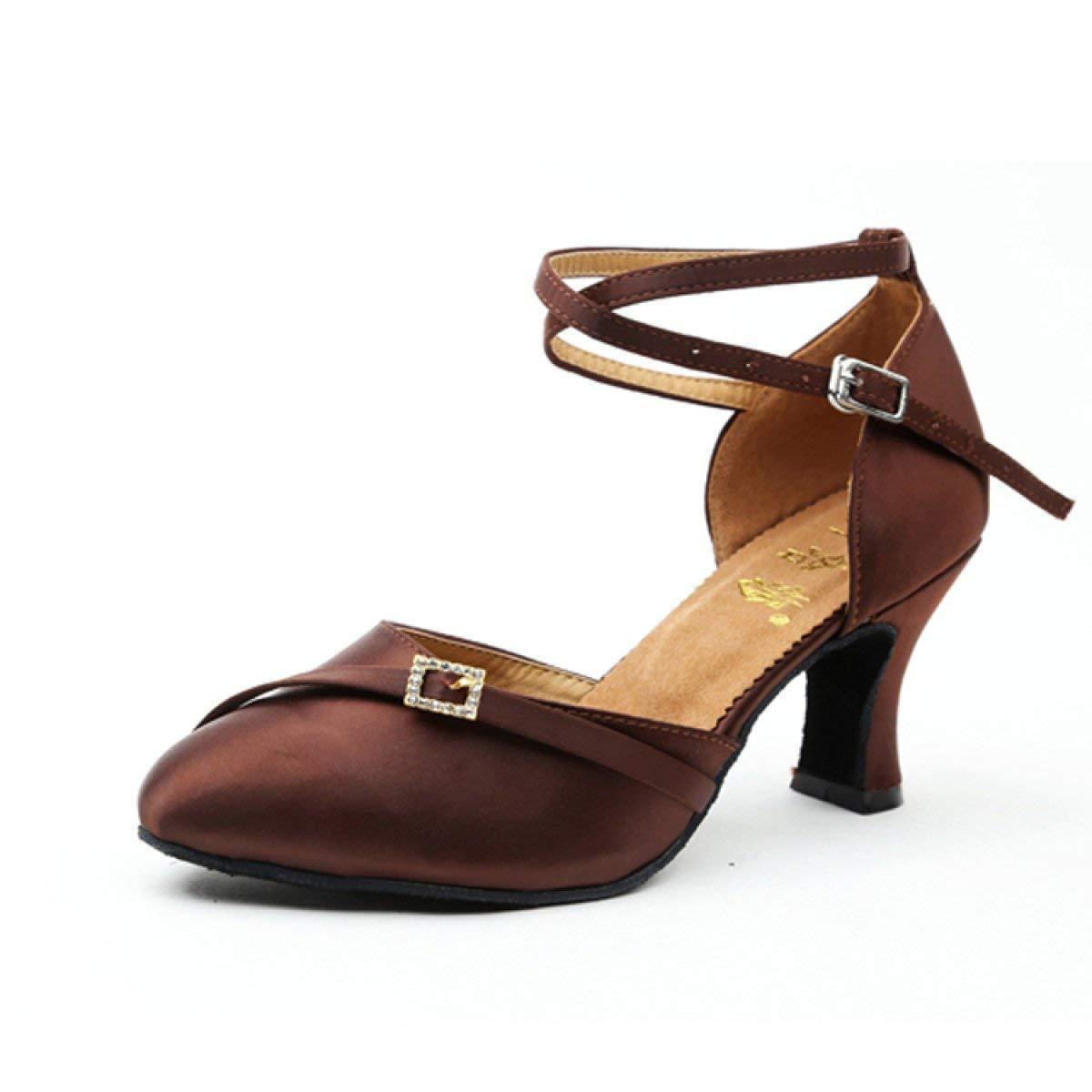 HhGold damen Latin Dance Closed Toe Hoher AbsatzSalsa Tango Chacha Samba Modern Jazz Schuhe Sandalen Orangeheeled6cm-UK4.5   EU36   Our37 (Farbe   braunheeled5cm Größe   UK4 EU35 Our36)