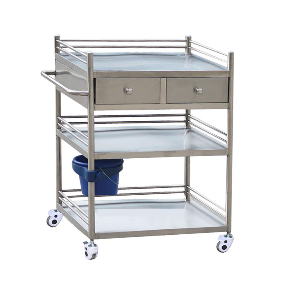 Stainless Steel Beauty Treatment Carts, 3 Layers Mobile Medical Instrument Trolley, Surgical Emergency Carts with Double Drawers (Size : 60×40×86cm)