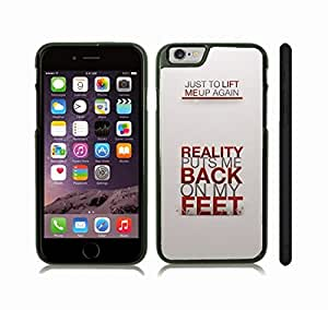 """iStar Cases? iPhone 6 Case with """"It's not the size of the dog..."""" Mark Twain Quote, Inspirational, Grey Font on Light Grey Gradient , Snap-on Cover, Hard Carrying Case (White)"""