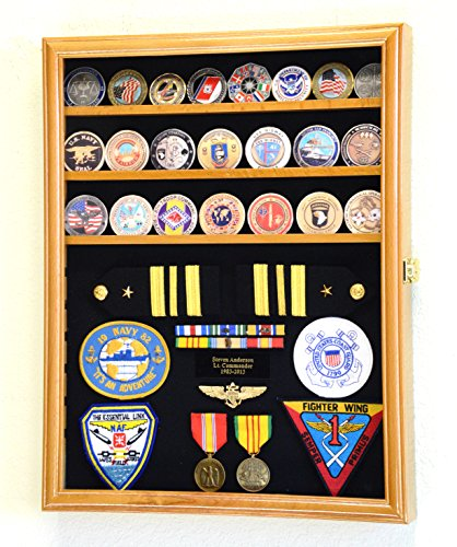Challenge Coin / Medals / Pins / Badges / Ribbons / Insignia / Buttons Chips Combo Display Case Box Cabinet (Oak -