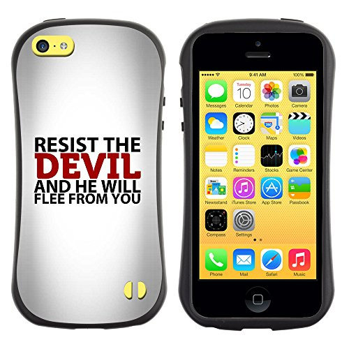 DREAMCASE Citation de Bible Silicone et Rigide Coque Protection Image Etui solide Housse T¨¦l¨¦phone Case Pour APPLE IPHONE 5C - RESIST THE DEVIL