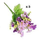 Conjugal Bliss 3pc Daisy Bunch Cineraria Artificial Flower Bouquet Home Office Decor (Purple)