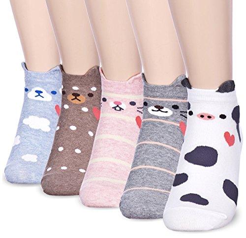 Cute Cat Dog Cow Animal Print Womens Teen Girls Casual Cotton Socks Gifts Christmas Stocking Stuffers (Sweet Heart) -