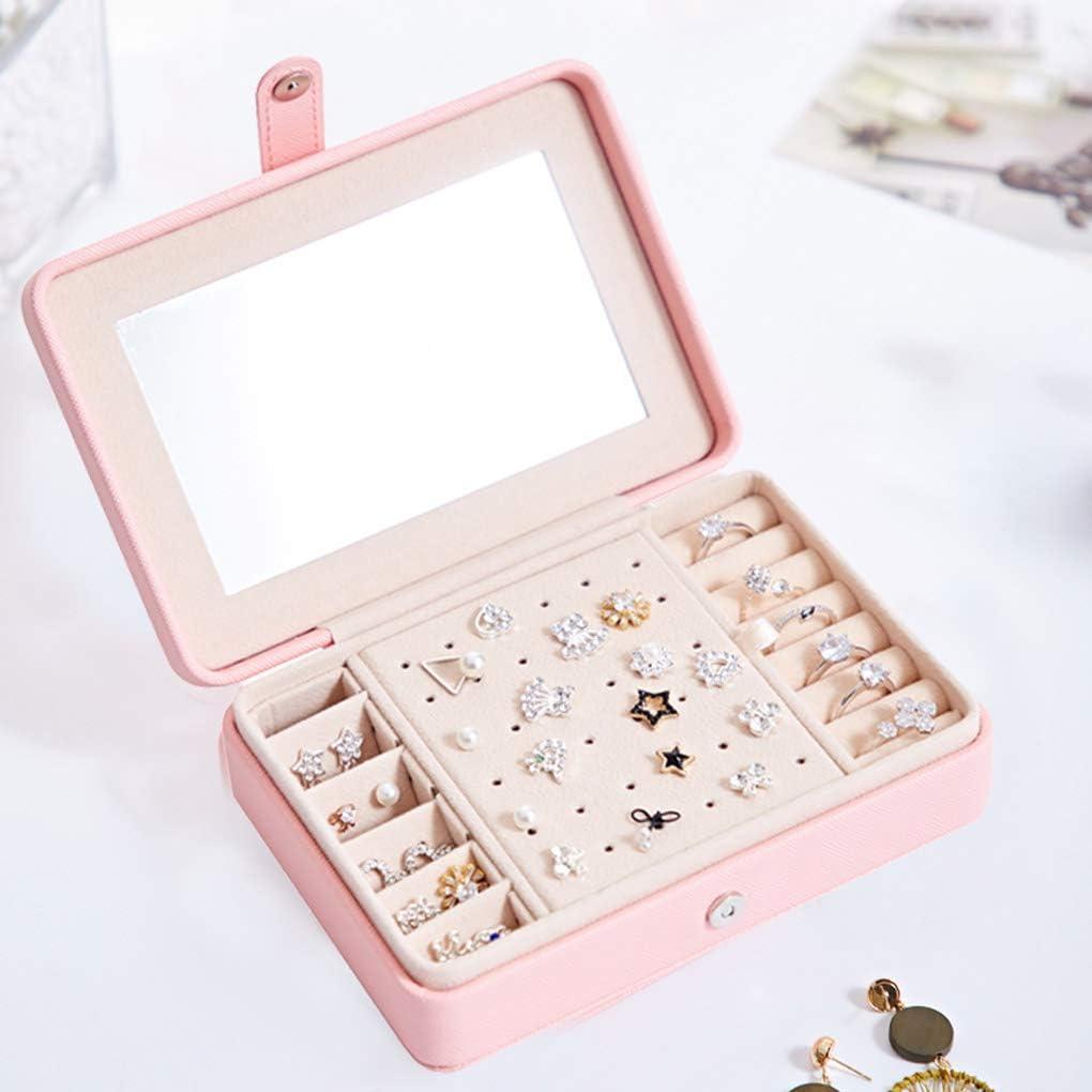 Sunlera - Joyero para Mujer, Organizador de Anillos, aretes, Estuche para Maquillaje, Espejo magnético, botón, joyería, Almacenamiento: Amazon.es: Hogar
