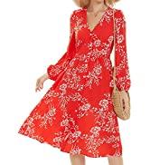 ROYLAMP Women's Floral Button Up Split Dress Deep V Short Bell Sleeve Casual Midi Dress with Pockets