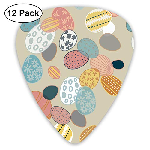 Yellow Eggs Easter Resurrection Small Medium Large 0.46 0.73 0.96mm Mini Flex Assortment Plastic Top Classic Rock Electric Acoustic Guitar Pick Accessories Variety Pack -