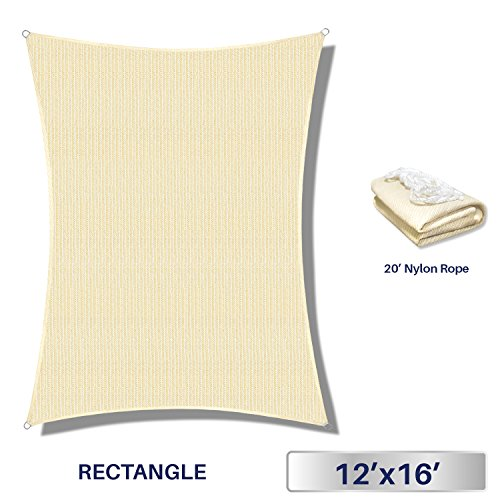 Windscreen4less 12' x 16' Rectangle Sun Shade Sail - Beige White Strips Durable UV Shelter Canopy Patio Outdoor Backyard - Custom by Windscreen4less