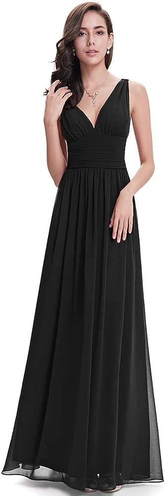 Sleeveless V Neck Semi Formal Maxi Evening Dress 09016