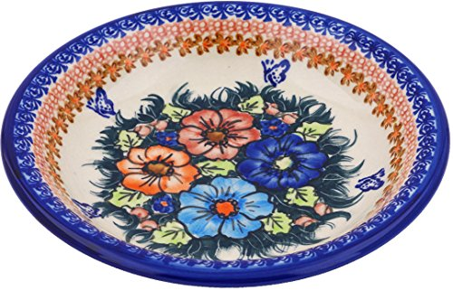 Polish Pottery Pasta Bowl 9-inch (Butterfly Splendor Theme) Signature UNIKAT