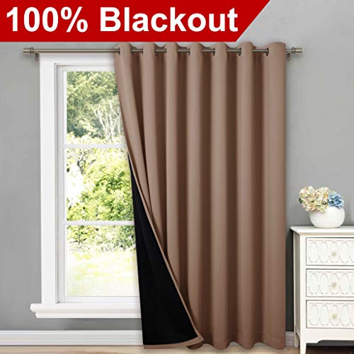 """NICETOWN Thermal Insulated 100% Blackout Curtains, Noise Reducing Performance Grommet Slider Curtain Panel with Black Lining, Full Light Blocking Patio Door Panels (1 Pc, 100"""" x 84"""", Taupe)"""