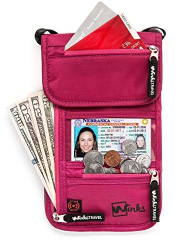 Winks Travel Shoulder Wallet Holder for Women | RFID Blocking Neck Pouch (Pink Lady Accessories)