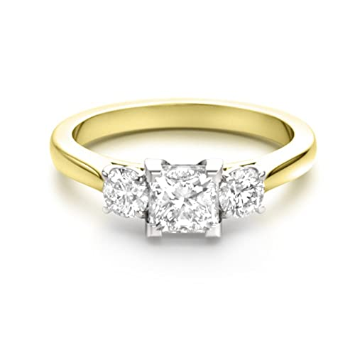 Forever Diamond 14K Yellow Gold oro amarillo talla princesa blanco excepcional +/incoloro/d