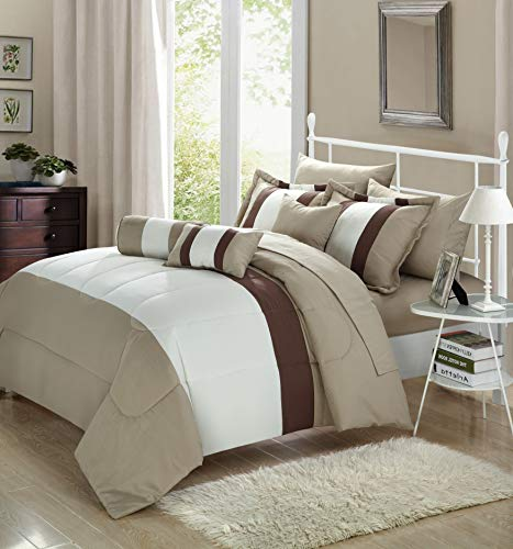 Chic Home Serenity 10 Piece Comforter Set Complete Bed in a Bag Stripe Pattern Bedding with Sheet Set and Decorative Pillows Shams Included, King Off-White
