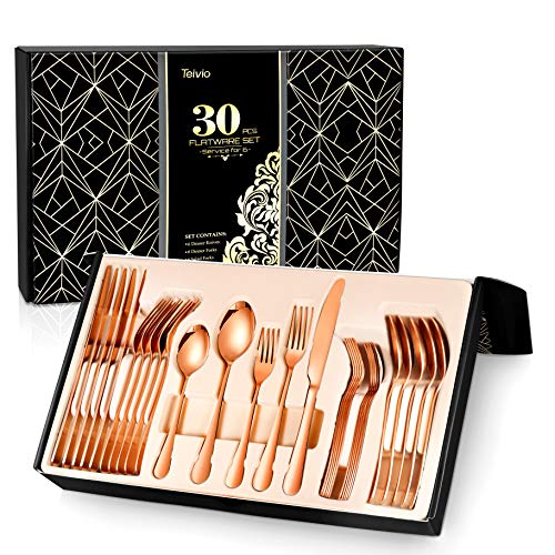 Teivio 30-Piece Copper Silverware Set, Rose Gold Flatware Set Mirror Polished, Service for 6, Include Knife/Fork/Spoon with Gift Box