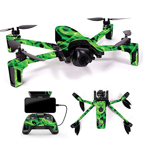 MightySkins Skin for Parrot Anafi Drone - Green Flames | Protective, Durable, and Unique Vinyl Decal wrap Cover | Easy to Apply, Remove, and Change Styles | Made in The USA