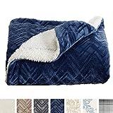 Home Fashion Designs Premium Reversible Sherpa and Sculpted Velvet Plush Luxury Blanket. Fuzzy, Soft, Warm Berber Fleece Bed Blanket Brand. (Twin, Navy)