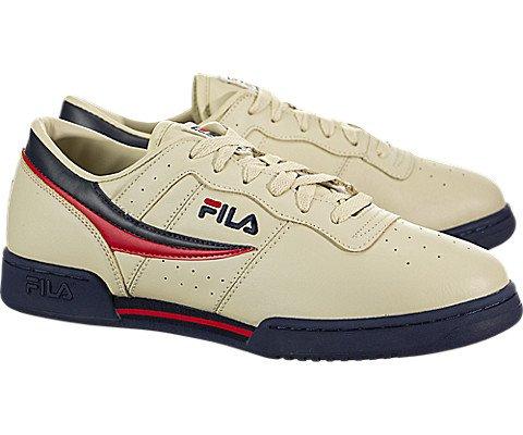 Fila Men's Original Fitness Fashion Sneaker, Cream/Peacoat Red, 9 M US