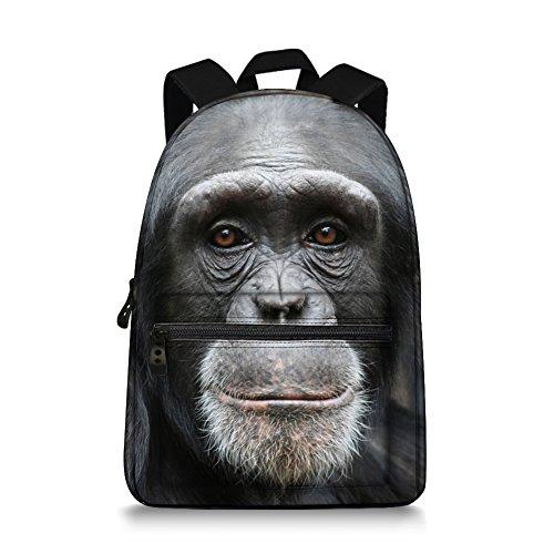 Jeremysport 15 Inch Canvas 3D Animal Face Gorilla Back Pack for School Back Gorilla
