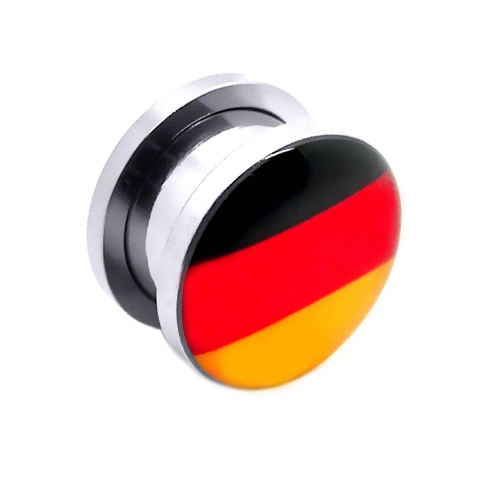 Túnel Dilatador Kit Piercing Acero inoxidable Dilataciones Pendientes Alemania Bandera Fútbol Ø 1,6 - 14 mm, Farbe2:Alle Größen / All Sizes 1.6 - 10mm: ...