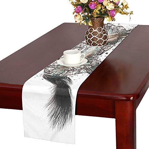 Horse Mammal Animal Nature Equestrian Brown Table Runner, Kitchen Dining Table Runner 16 X 72 Inch For Dinner Parties, Events, Decor by RYUIFI