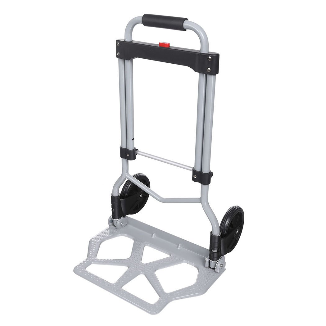 220lb Heavy Duty Folding Hand Truck & Dolly, Assisted Hand Truck Luggage Cart with 2 Wheels-Black by Korie (Image #3)