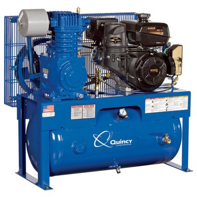 – Quincy QT-7.5 Splash Lubricated Reciprocating Air Compressor – 14 HP, Kohler Gas Engine, 30-Gallon Horizontal, Model# G214K30HCD For Sale