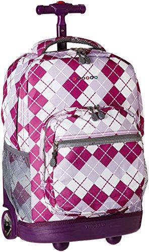J World New York Sunrise Rolling Backpack, Argyle Purple, One Size
