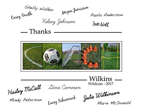 (Personalized Soccer Coach gift, coach's gift to be signed by players, 11x14 with border for signatures)