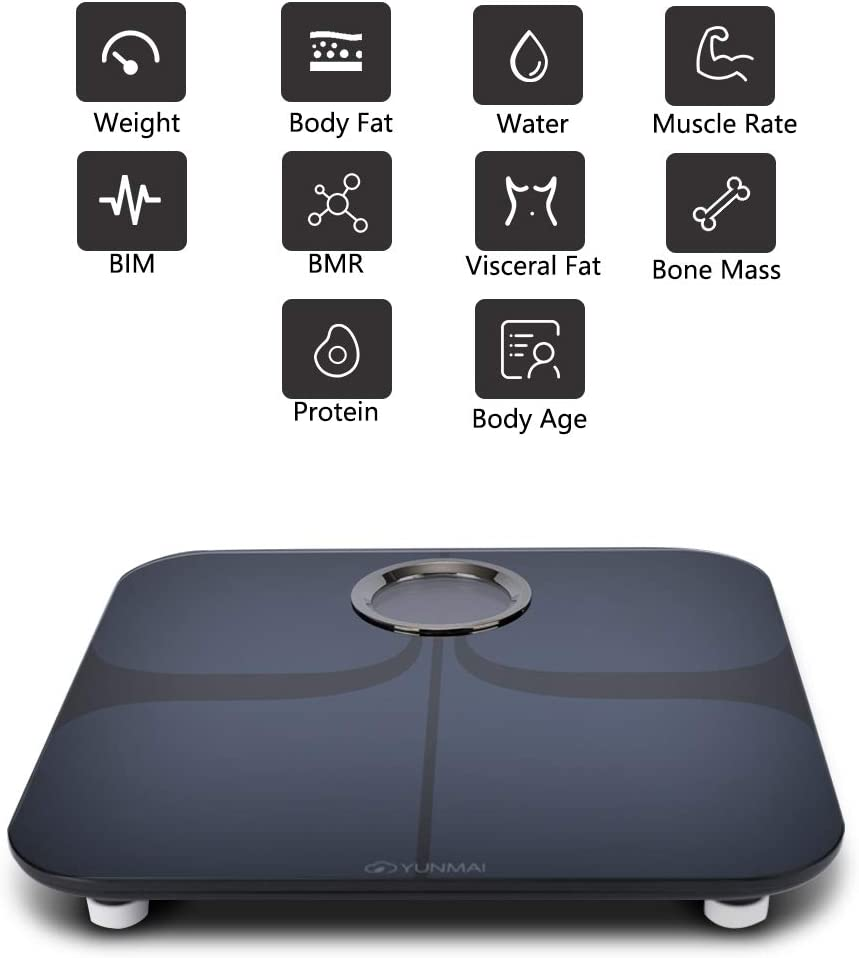 YUNMAI Smart Scale Body Fat Scale with New Free APP & Body Composition Monitor with Extra Large Display: Health & Personal Care