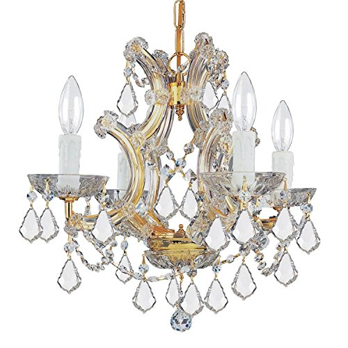 4474-GD-CL-SAQ Maria Theresa 4LT Chandelier, Polished Gold Finish with Clear Swarovski Spectra Crystal by Crystorama Lighting Group