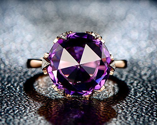 Solid 18k rose gold promise ring,0.05ct SI-H Diamond Engagement ring,7.5ct Natural Round VVS purple Amethyst,Prong set - 0.05 Ct Round Diamond