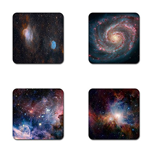 (Starry deep outer space nebula and galaxy pattern square coaster set - Made of recycled rubber - set of 4)