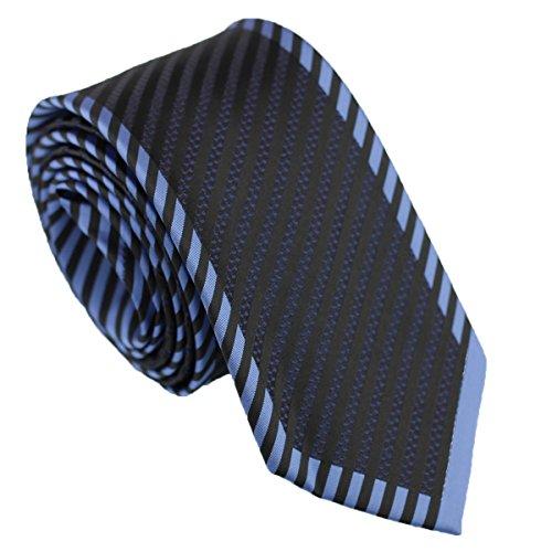 Coachella Ties Diagonal Striped Bordered Necktie Woven Panel Slim Tie 7cm (Black/Blue)