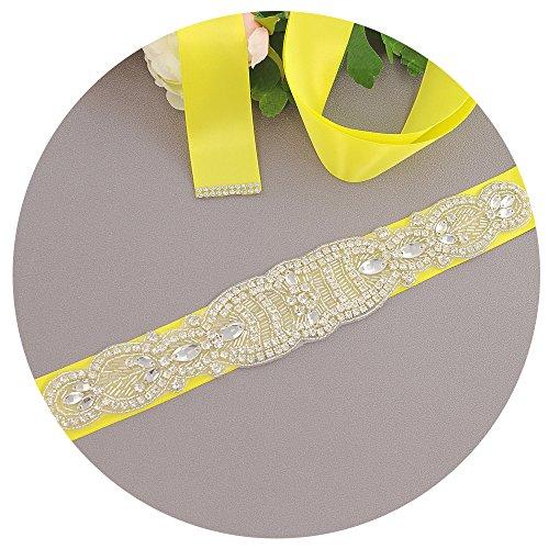 Belt Sash S162 Beadings Sash s Bridal Yellow Belt Women Crystals Dress ULAPAN Wedding vYPffq