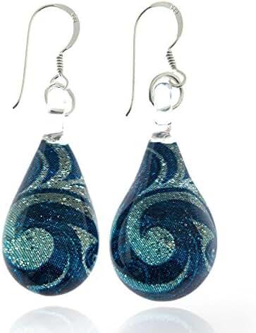 925 Sterling Silver Hand Blown Murano Glass Blue Sea Wave Silver Glitter Dangle Earrings