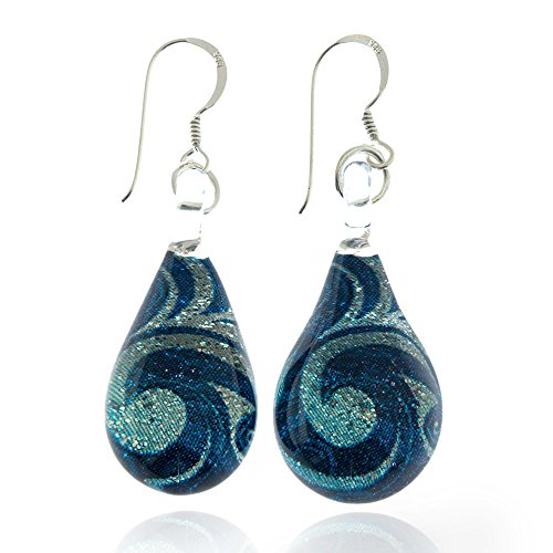 Hand Blown Murano Glass Blue Sea Wave Silver Glitter Dangle Earrings (Silver Dangle Blue Glass Earrings)