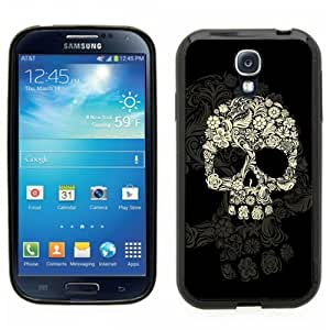 Samsung Galaxy S4 SIIII Black Rubber Silicone Case - Flower Skull Hipster Cool Floral Skull