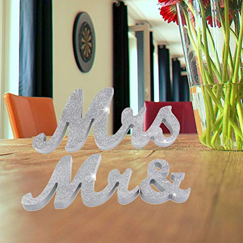 HAOLIVE Vintage Style Mr and Mrs Sign Mr & Mrs Wooden Letters Wedding Sign with Silver Glitter for Christmas Decorations,Wedding Table,Photo Props,Party Table,Top Dinner Decoration(Glitter Silver) (Mr And Mrs Letters For Top Table)