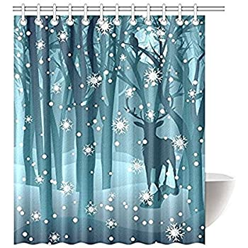 Stag In Winter Forest Reindeer Waterproof Polyester Fabric Bathroom Shower Curtain With 12 Hooks 60w X 72h Decor By Qearl