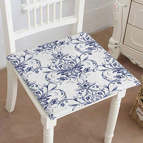 Mikihome Chair Seat Pads Cushions Paisley Decorative Motif Drawn Print for wrapp Wallpaper Square Car and Chair Cushion/Pad with Ties, Soft, for Indoors Or Outdoor 20